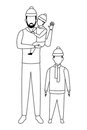 man with children avatars wearing winter clothes and knitted cap black and white vector illustration graphic design