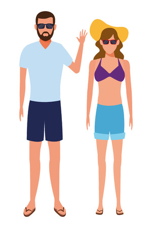 couple wearing summer clothes swimwear and sunglasses avatar cartoon character vector illustration graphic design