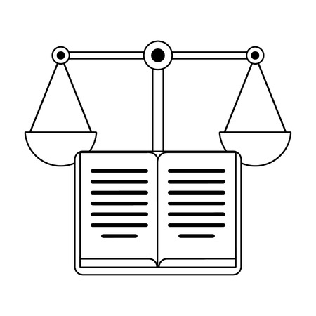 Book open and justice balance symbol vector illustration graphic design