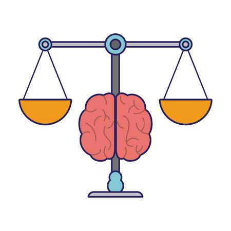 Équilibre de la justice et cerveau cartoon symbol vector illustration graphic design