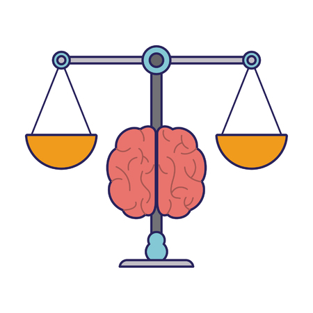 Justice balance and brain cartoon symbol vector illustration graphic design 向量圖像