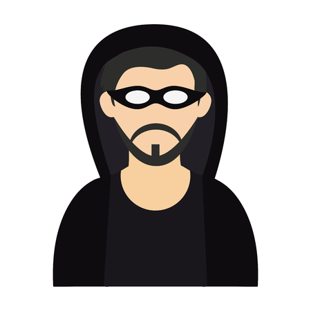 Hacker with mask avatar vector illustration graphic design