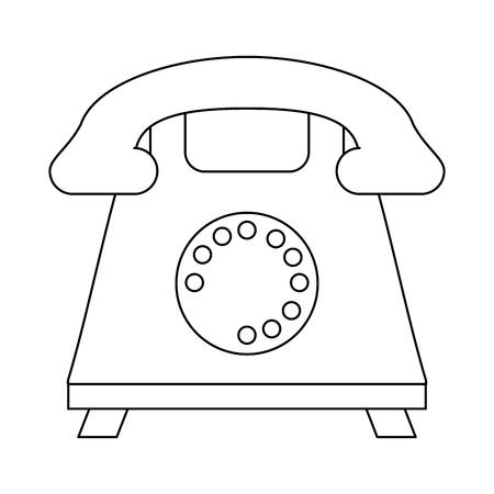 Vintage telephone symbol cartoon vector illustration graphic design