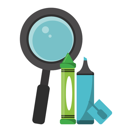 School utensils and supplies magnifying glass with marker and crayon
