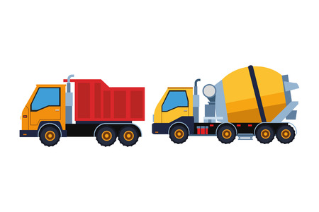 Construction vehicles truck and cement truck machinery vector illustration graphic design
