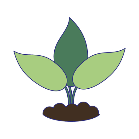 Plant with leaves eco symbol vector illustration graphic design