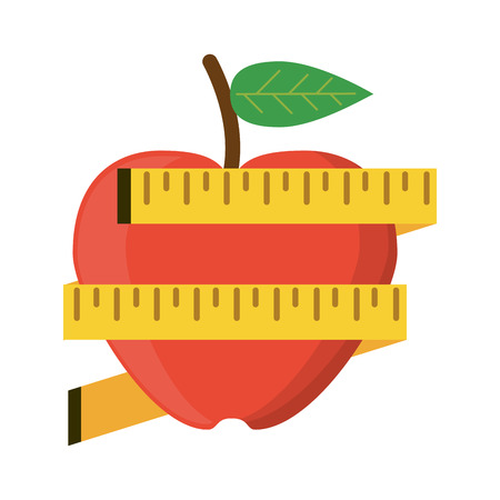 Healthy lifestyle and weight loss apple with measurement tapes vector illustration graphic design