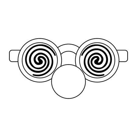 Lunettes avec dessin animé nez de clown isolé Designe