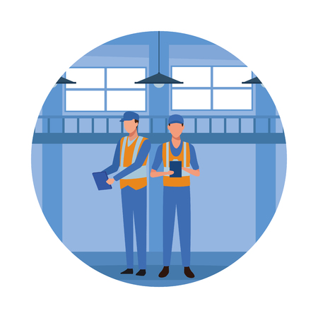 industry factory workers cartoon vector illustration graphic design