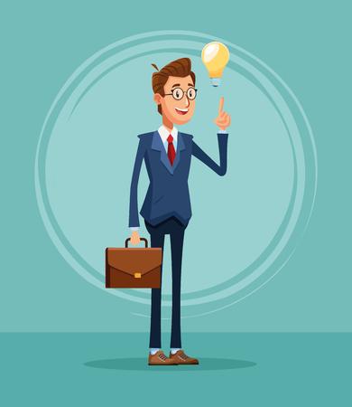 Businessman banker with big idea cartoon vector illustration graphic design Vektoros illusztráció