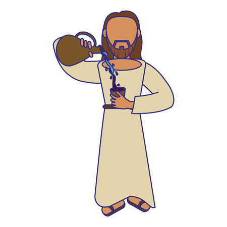 jesuschrist man with water and wine cartoon vector illustration graphic design