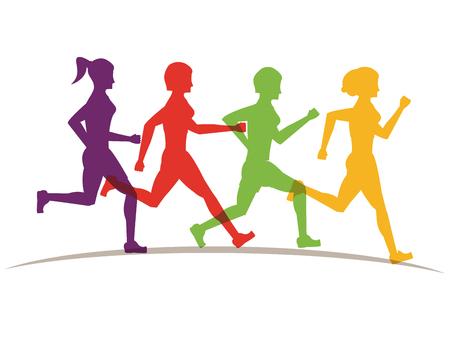 Fitness-Leute, die bunte Silhouetten über weißem Hintergrund-Vektor-Illustration-Grafik-Design laufen lassen