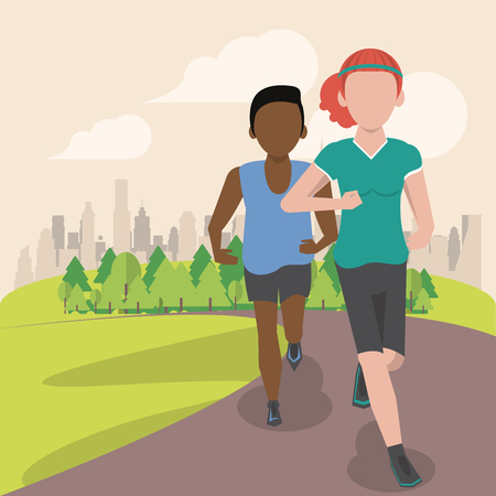 Fitness couple running at park scenery cartoon vector illustration graphic design Çizim