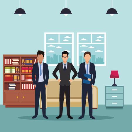 executive business men cartoon  inside apartment scenery vector illustration graphic design