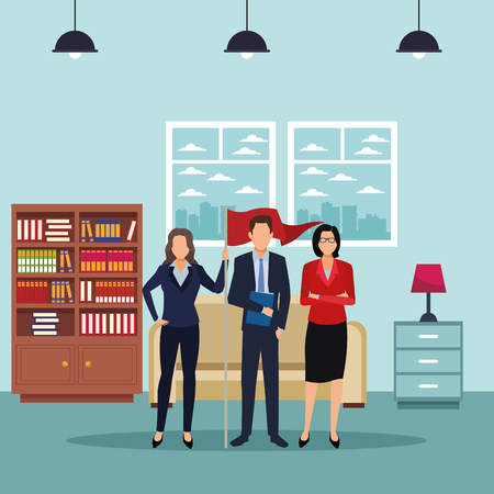 executive business coworkers with success flag cartoon  inside apartment scenery vector illustration graphic design Ilustração