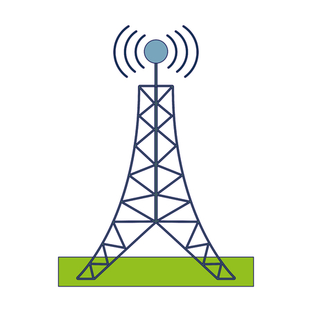 Telecommunication antenna tower symbol icon ilustration vector Illustration