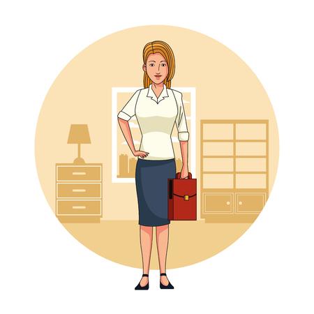 Executive businesswoman in office cartoon round icon vector illustration graphic design