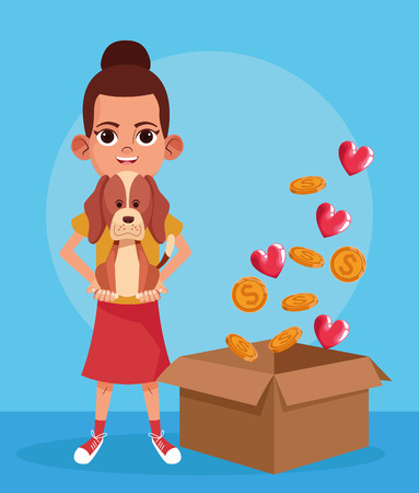 Kid donation charity girl with pet and box with coins and hearts cartoon vector illustration graphic design