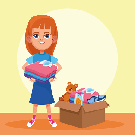 Kid donation and charity girl with toys and clothes in box vector illustration graphic design