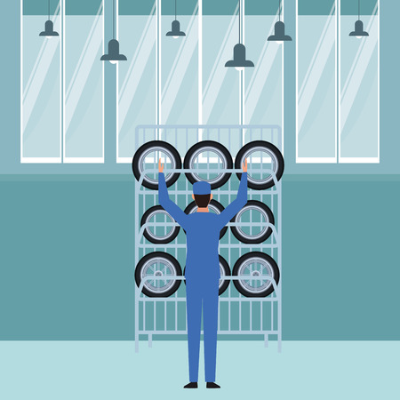 industry car manufacturing wheels cartoon vector illustration graphic design