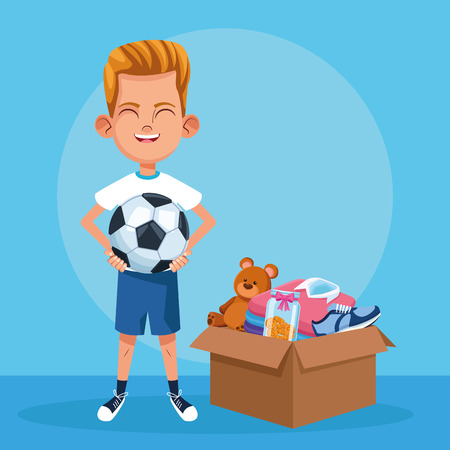 Kid donation charity cartoon boywith toys in box vector illustration graphic design