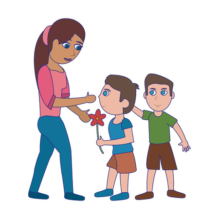 Single mother with kids boys cartoon vector illustration graphic design Vectores