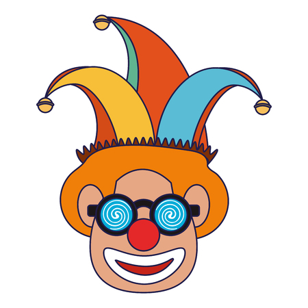 Clown face with glasses and hat cartoon Designe