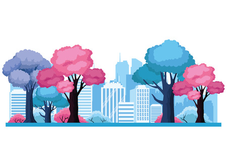 Urban cityscape scenery from park vector illustration graphic design