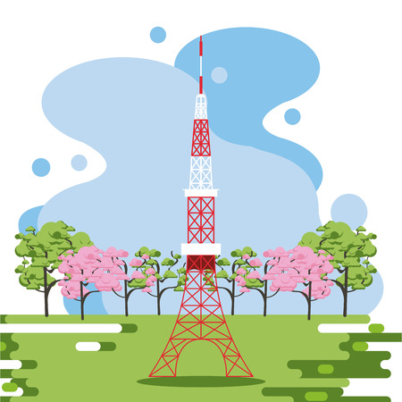 Telecommunication antenna in nature splash frame scenery vector illustration graphic design