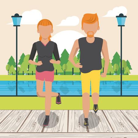 Fitness couple running at park scenery cartoon vector illustration graphic design Illustration
