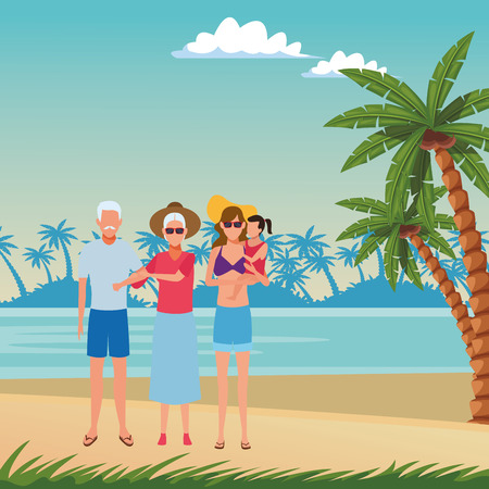 summer vacation people family at beach cartoon vector illustration graphic design