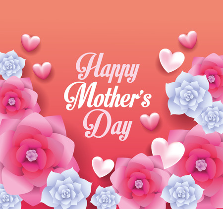 Happy mothers day card with flowers frame vector illustration graphic design