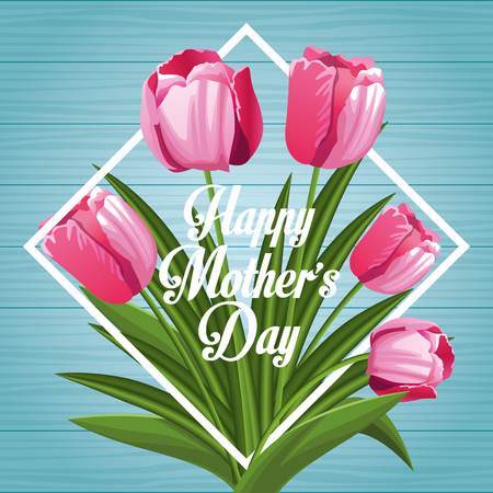 Happy mothers day card with flowers vector illustration graphic design  イラスト・ベクター素材