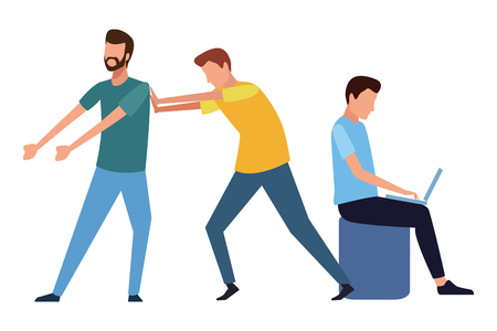 Coworkers pushing worker and man with laptop cartoon vector illustration graphic design Ilustração Vetorial
