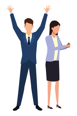 Businessman with arms up and businesswoman vector illustration graphic design