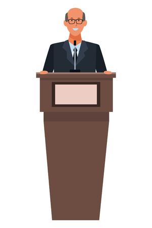 man in a podium making a speech wearing glasses vector illustration graphic design Ilustração