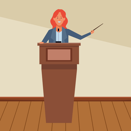 woman in a podium making a speech with a wand indoor vector illustration graphic design Ilustração