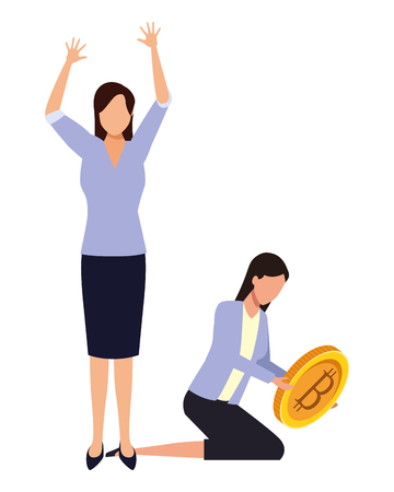 Business people with bitcoins avatars vector illustration graphic design Stock fotó - 124136477