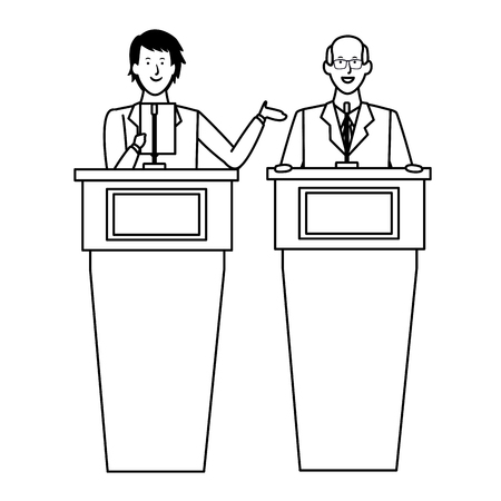 men in a podium making a speech wearing glasses black and white vector illustration graphic design