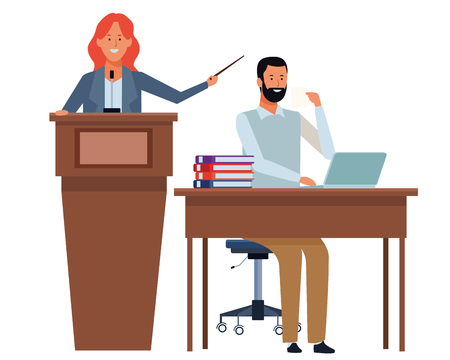 couple in a podium and office desk with beard vector illustration graphic design