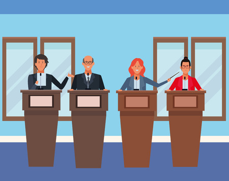 people in podiums with wand wearing glasses in the auditory vector illustration graphic design