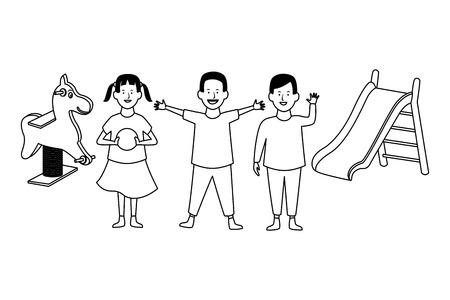 Kids playing with sandbox funny games vector illustration garphic design
