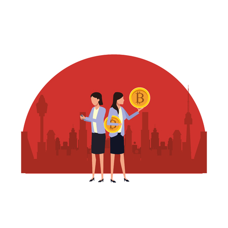 Business people with bitcoins avatars over cityscape scenery frame vector illustration graphic design