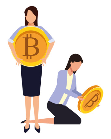 Business people with bitcoins avatars vector illustration graphic design Stock fotó - 119875446