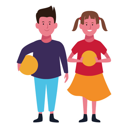 Two kids boy and girl with ball smiling cartoons vector illustration graphic design