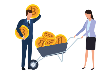 business couple holding cryptocurrency bitcoin with wheelbarrow vector illustration graphic design