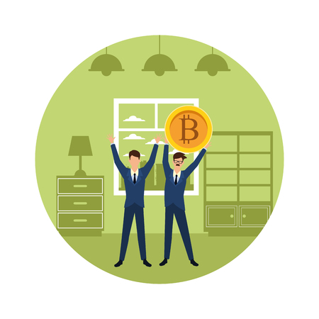Business people with bitcoins avatars inside home apartment round icon vector illustration graphic design Illustration