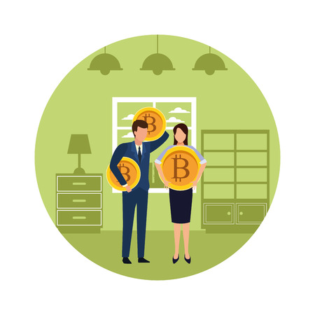 Business people with bitcoins avatars inside home apartment round icon vector illustration graphic design