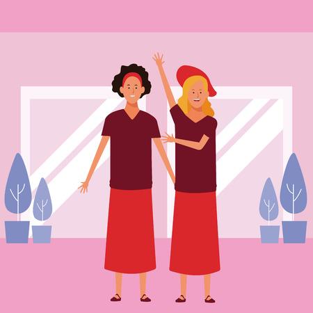 women avatar cartoon character wearing skirt hat headband  vector illustration graphic design Vectores