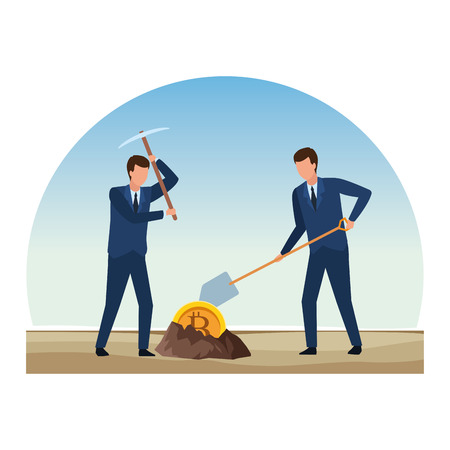 businessmen digging looking for cryptocurrency bitcoin with pickaxe and shovel outdoor vector illustration graphic design Vettoriali